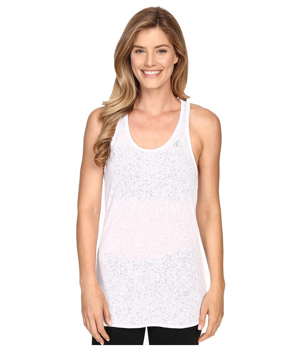 adidas - Fab Tank Top - Terazzo Burnout (White/Matte Silver) Women's Sleeveless