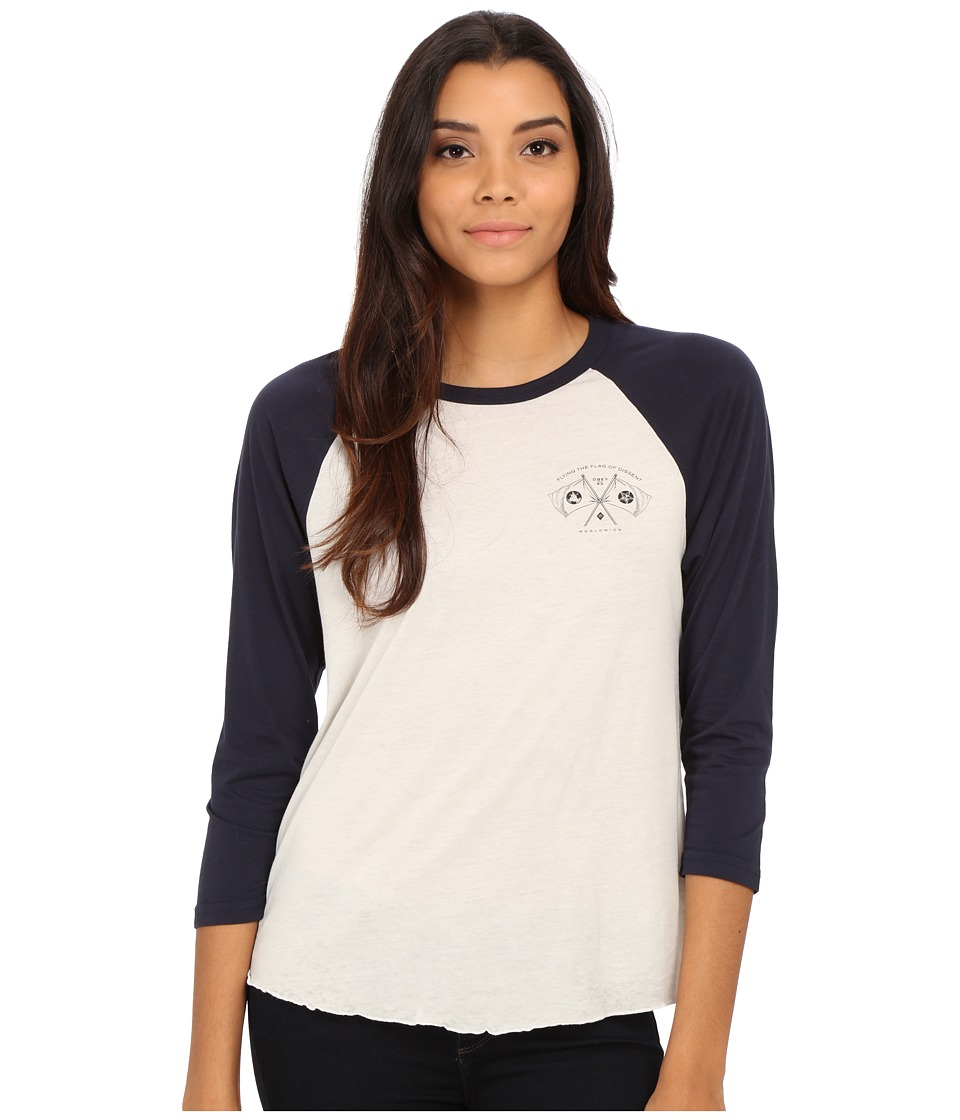 Obey - Flag of Dissent Raglan (Cr me/Dark Navy) Women