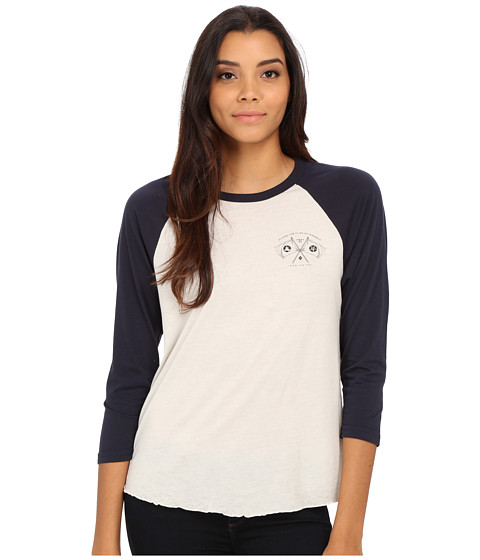 Obey - Flag of Dissent Raglan (Cr me/Dark Navy) Women's T Shirt