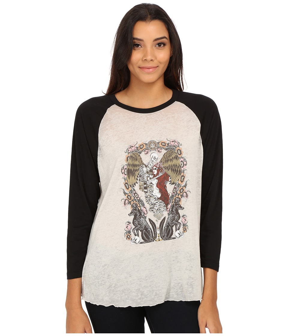 Obey - Sleep Raglan (Creme/Black) Women's T Shirt