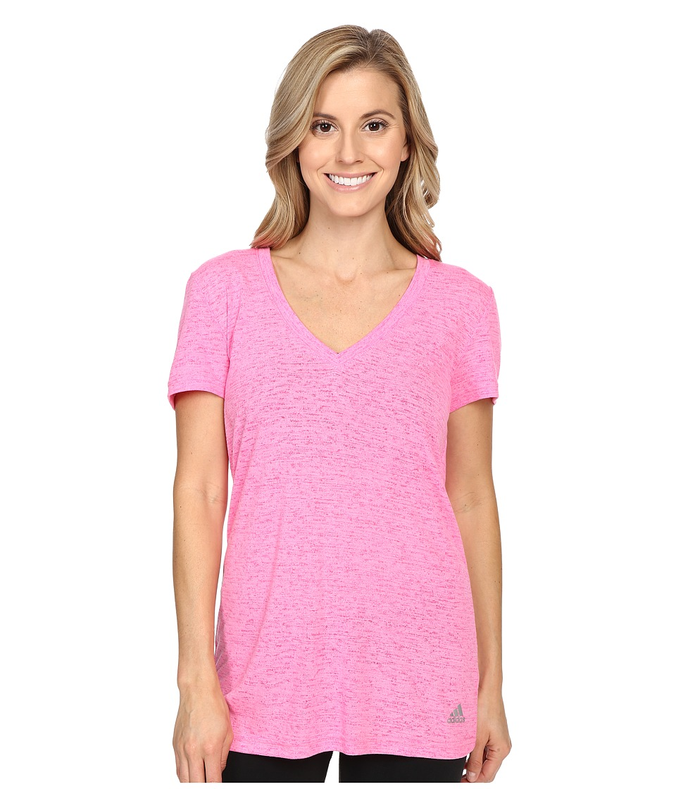 adidas - 24 Seven Deep V-Neck Tee (Pink Glow/Shock Pink) Women's Workout