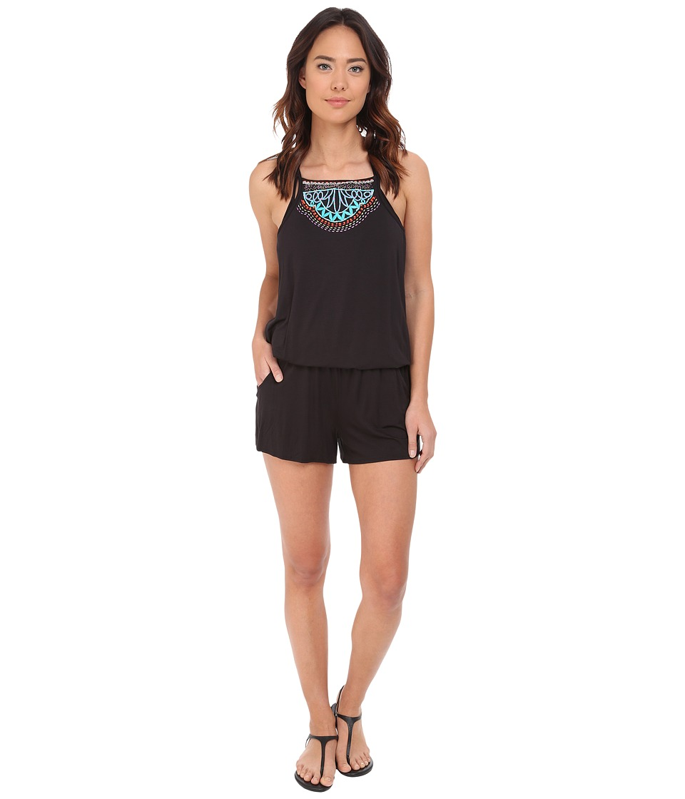 Nanette Lepore - Mantra Embroidery Romper Cover-Up (Black) Women's Jumpsuit & Rompers One Piece