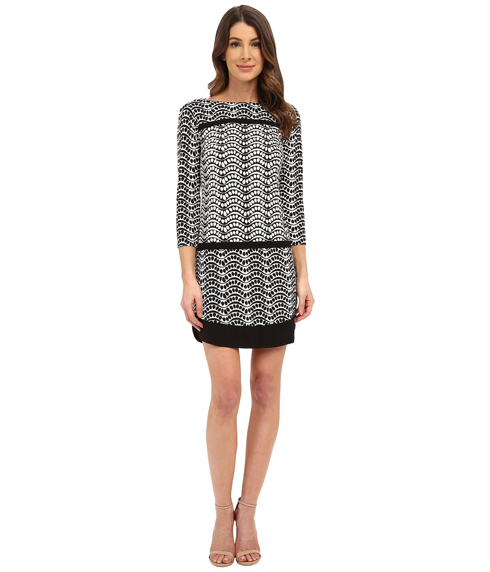 Donna Morgan - 3/4 Sleeve Printed Jersey Drop Waist Shift Dress (Black/Whitecap Grey) Women's Dress