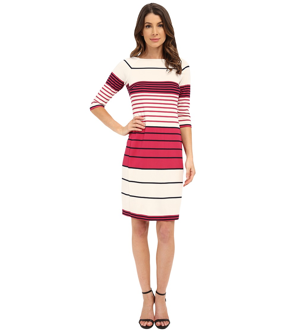 Donna Morgan - 3/4 Sleeve Striped Scuba Shift Dress (Currant Multi) Women's Dress