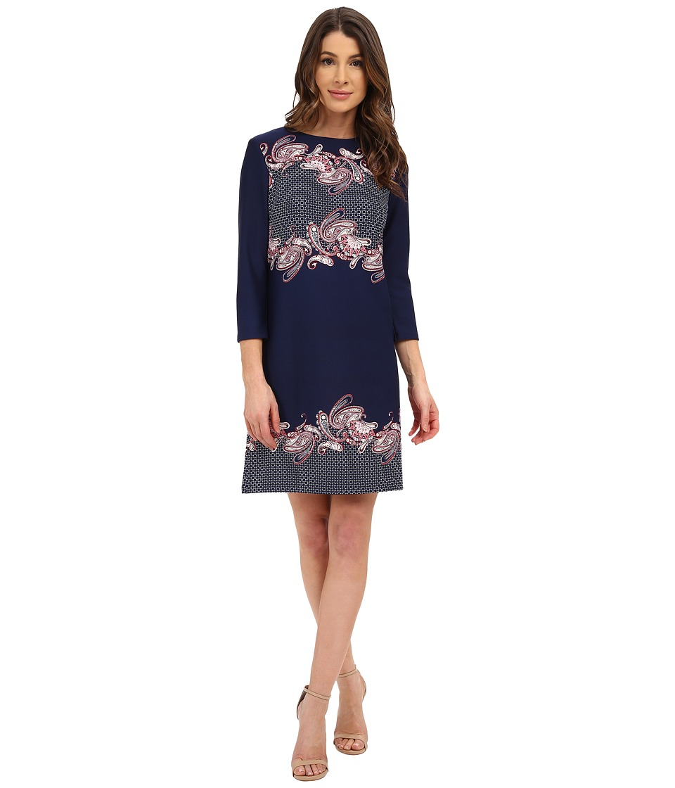 Donna Morgan - 3/4 Sleeve Scuba Shift Dress (Navy Multi) Women's Dress