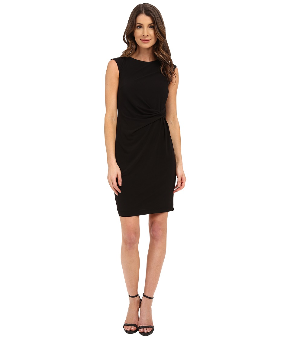 Donna Morgan - Short Sleeve Rouched Side Jersey Dress (Black) Women