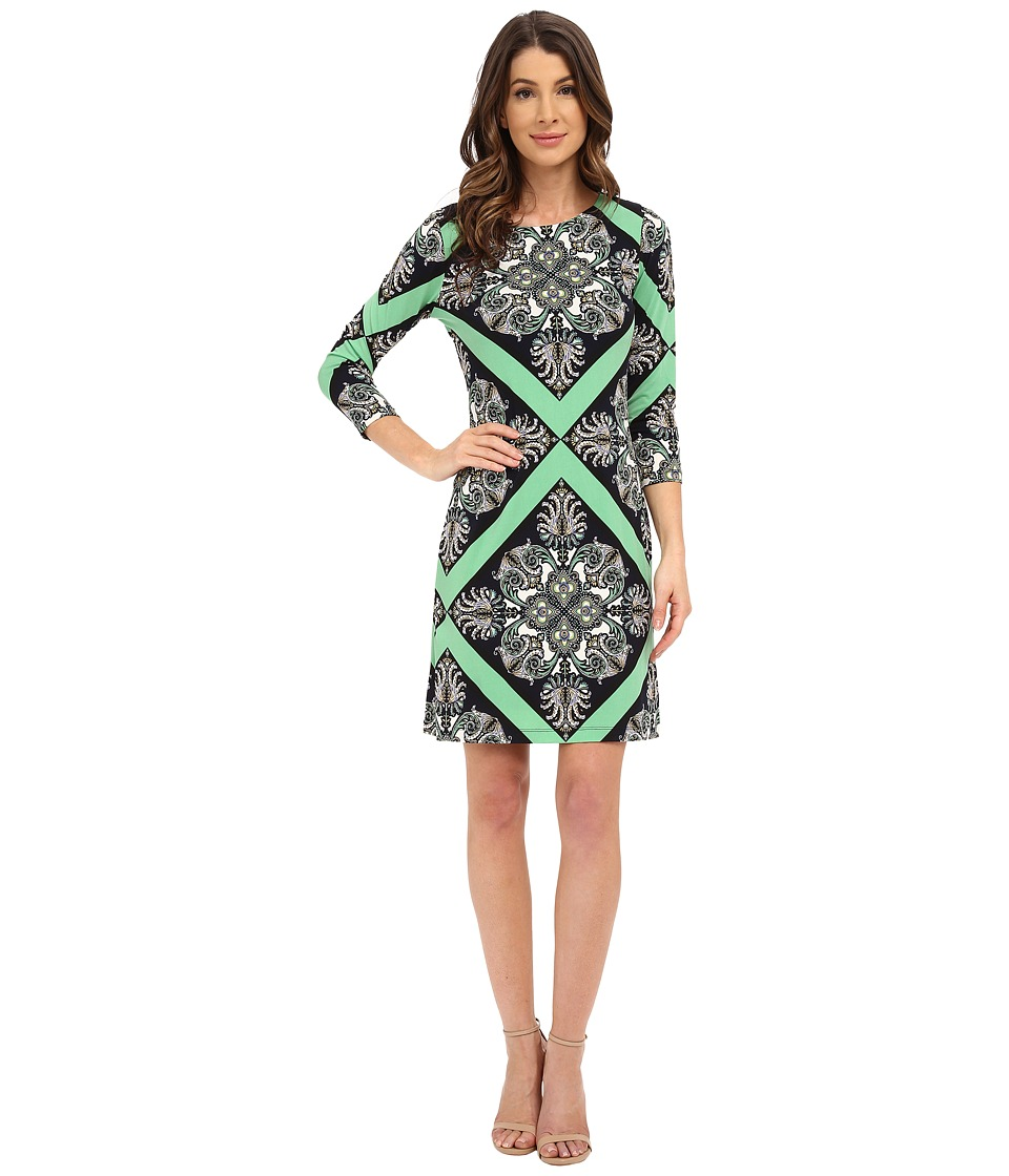 Donna Morgan - 3/4 Sleeve Printed Jersey Shift Dress (Chlorophyll Multi) Women's Dress