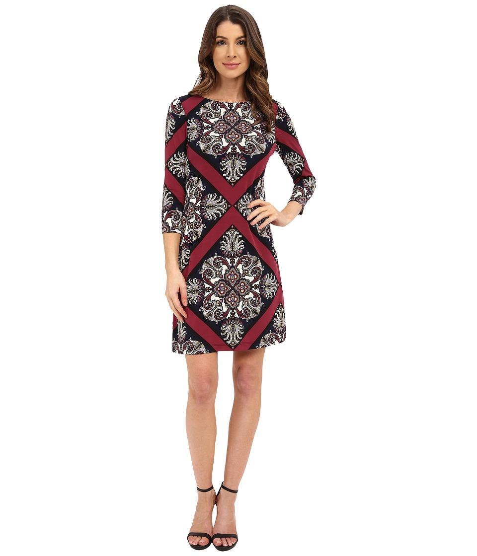 Donna Morgan - 3/4 Sleeve Printed Jersey Shift Dress (Currant Multi) Women's Dress