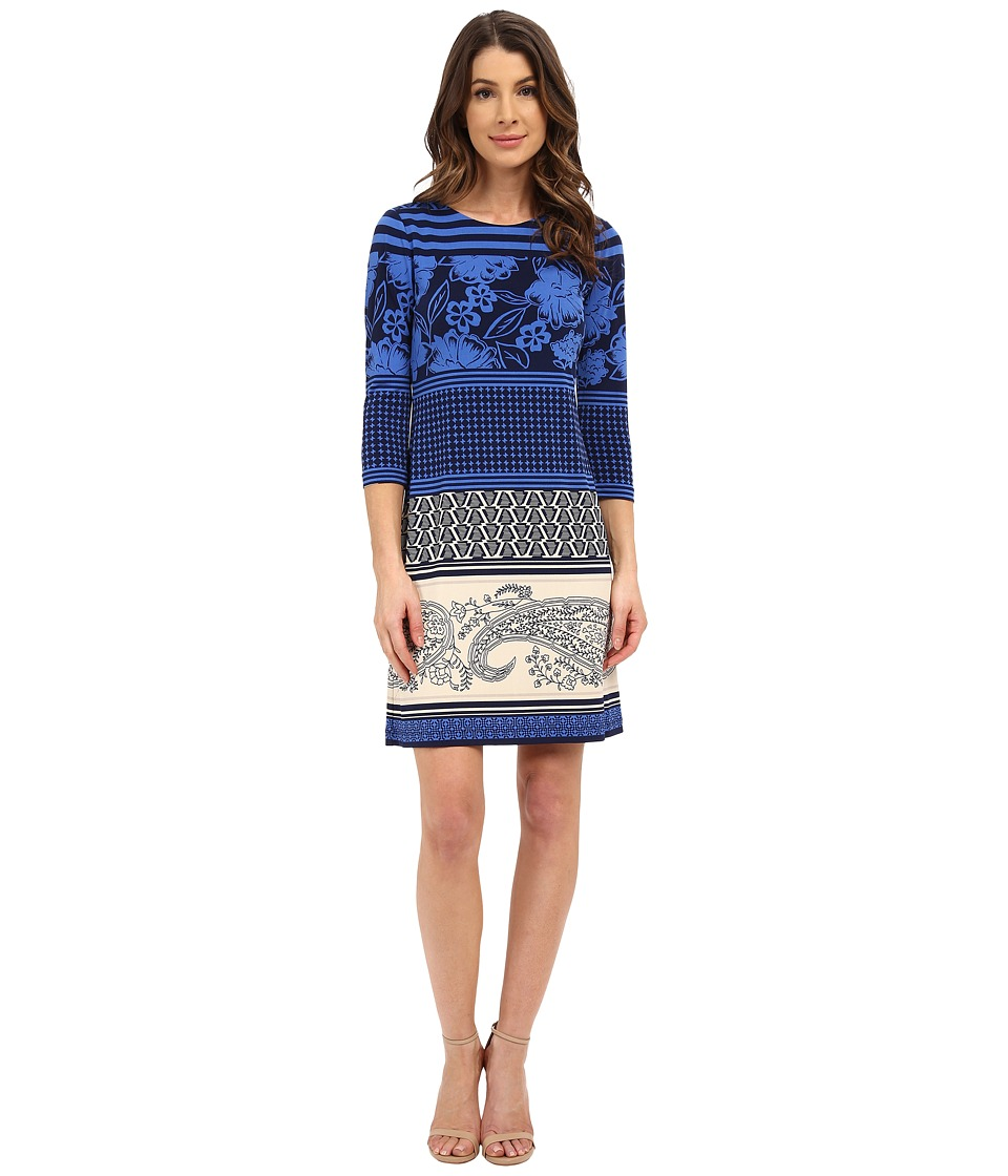 Donna Morgan - 3/4 Sleeve Printed Jersey Shift Dress (Cornflower Multi) Women's Dress