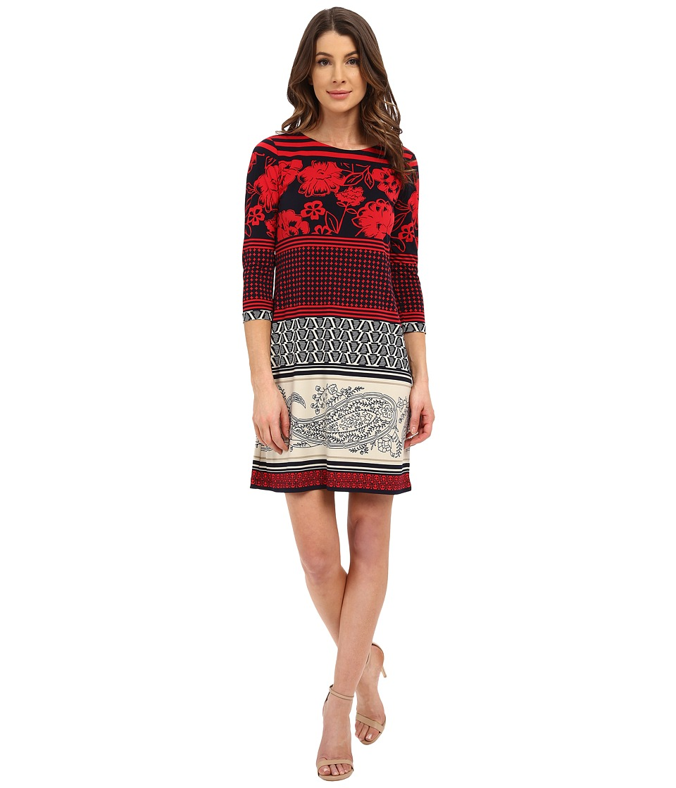 Donna Morgan - 3/4 Sleeve Printed Jersey Shift Dress (Cherry/Midnight) Women's Dress
