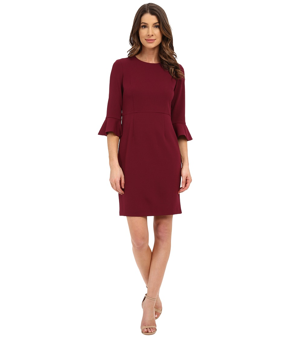 Donna Morgan - 3/4 Bell Sleeve Crepe Shift Dress (Currant) Women's Dress