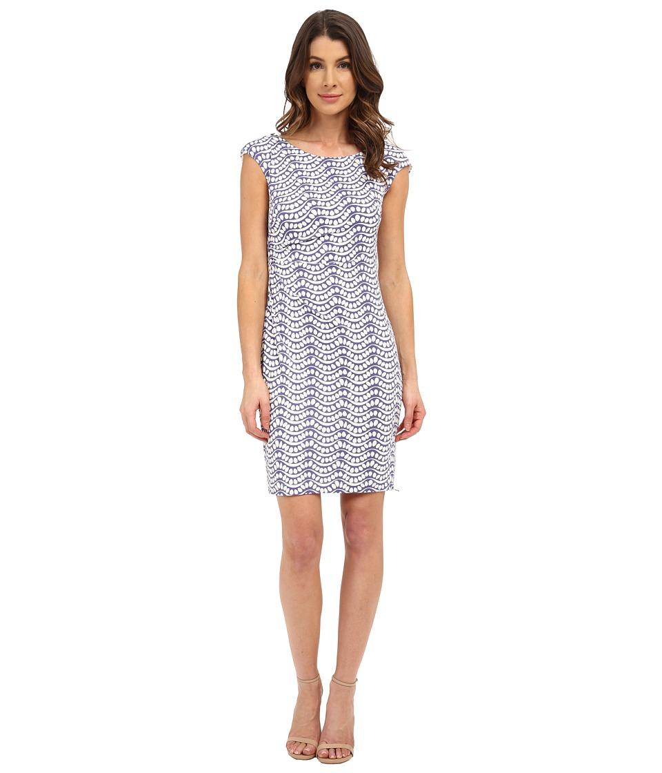 Donna Morgan - Short Sleeve Rouch Side Zip Shoulder Jersey Dress (Lavender/Whitecap) Women's Dress