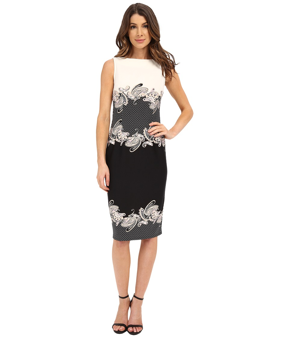 Donna Morgan - Sleeveless Scuba Bodycon Printed Midi Dress (Nude/Black Multi) Women's Dress