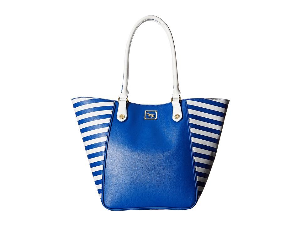 Emma Fox - Hudson North/South Tote (Blue Crush/White) Tote Handbags