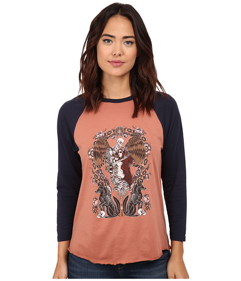 Obey - Sleep Raglan (Copper/Dark Navy) Women's T Shirt