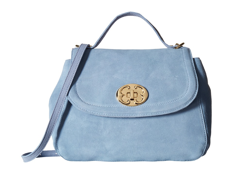 Emma Fox - New Classics Top Handle Suede (Baby Blue) Satchel Handbags