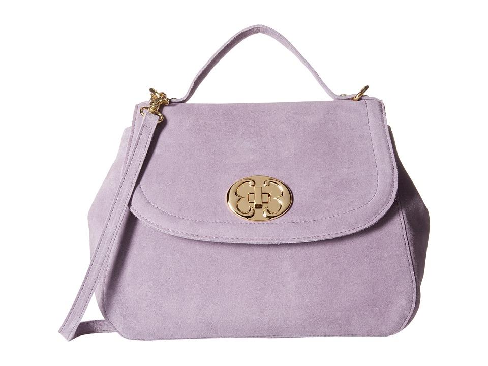 Emma Fox - New Classics Top Handle Suede (Lavender) Satchel Handbags