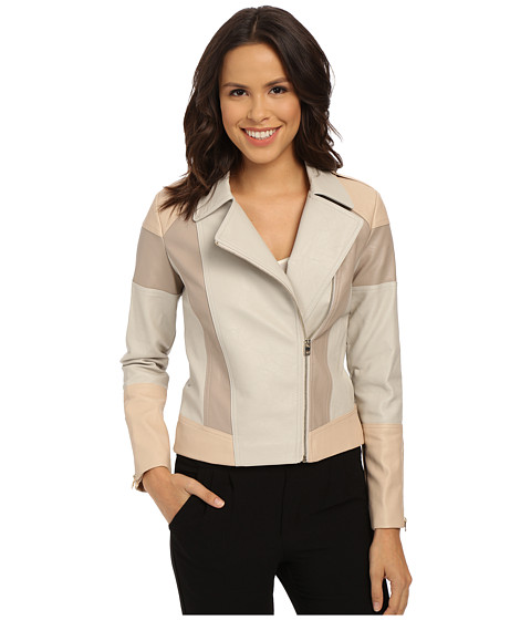 XOXO - Faux Leather Color Block Jacket (Blush) Women's Coat