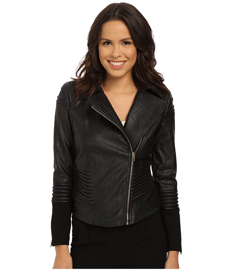XOXO - Faux Leather Moto Jacket (Black) Women's Coat