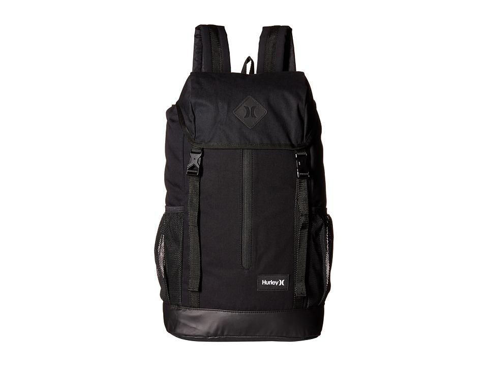 Hurley Daley Backpack (Black/Black/White) Backpack Bags