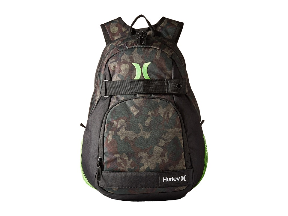 Hurley - Honor Roll Printed Backpack (Iguana/Black Forest/Turkish Coffee/Black/Neon Green) Backpack Bags