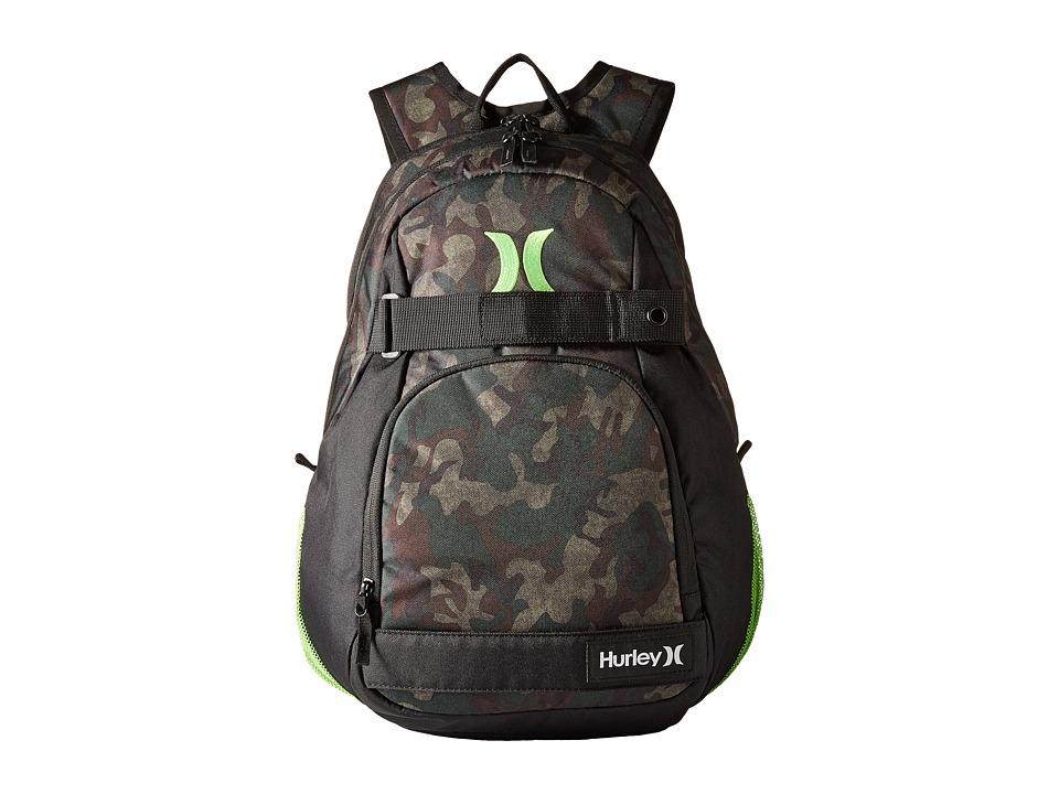 Hurley - Honor Roll Printed Backpack (Iguana/Black Forest/Turkish Coffee/Black/Neon Green) Backpack Bags