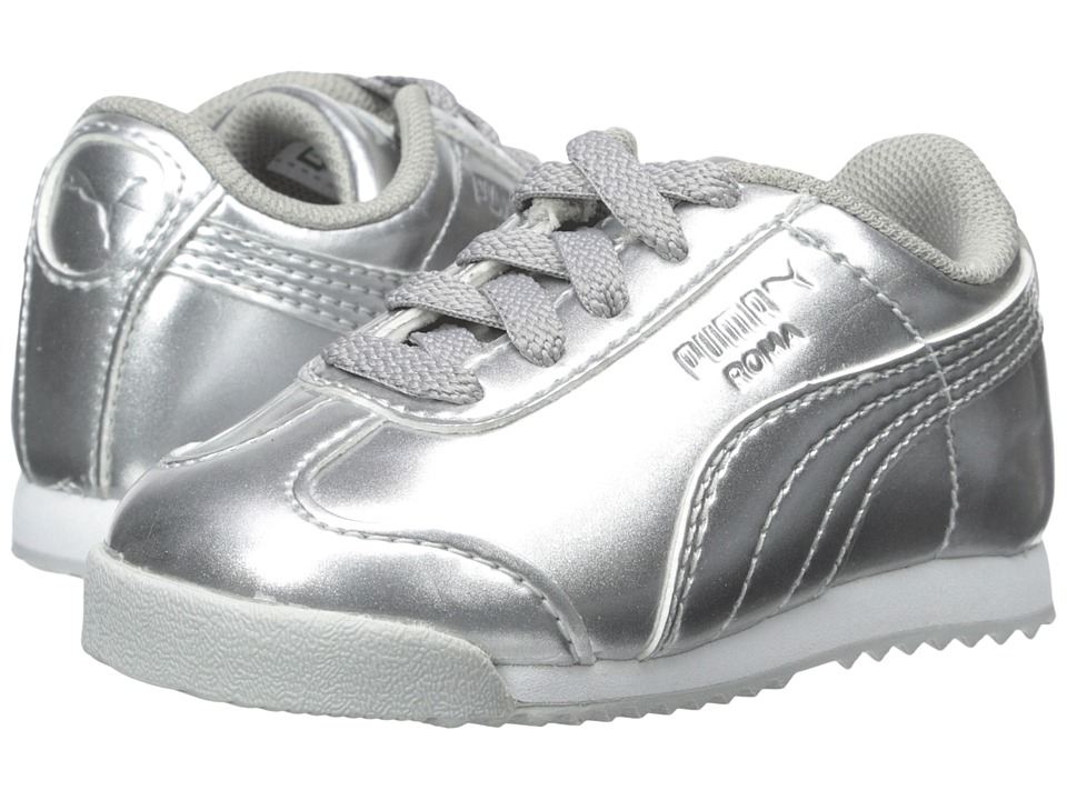 Puma Kids - Roma PNT ANO (Toddler/Little Kid/Big Kid) (Puma Silver/White) Girls Shoes