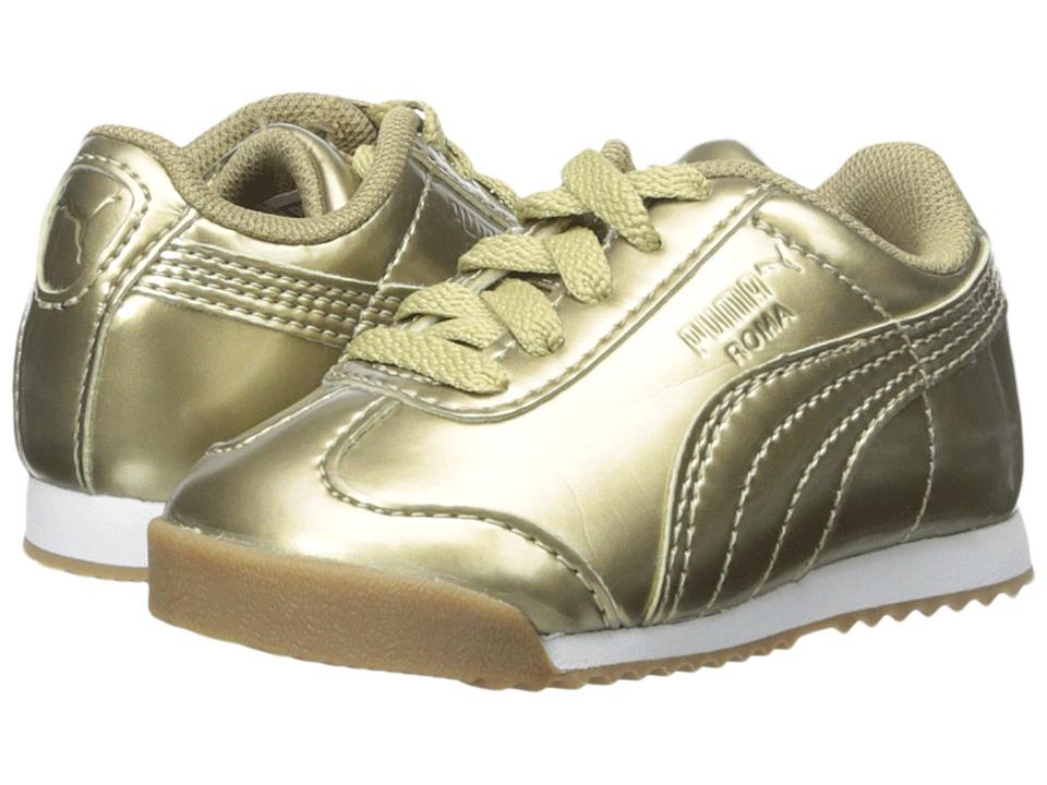 Puma Kids - Roma PNT ANO (Toddler/Little Kid/Big Kid) (Metallic Gold/White) Girls Shoes