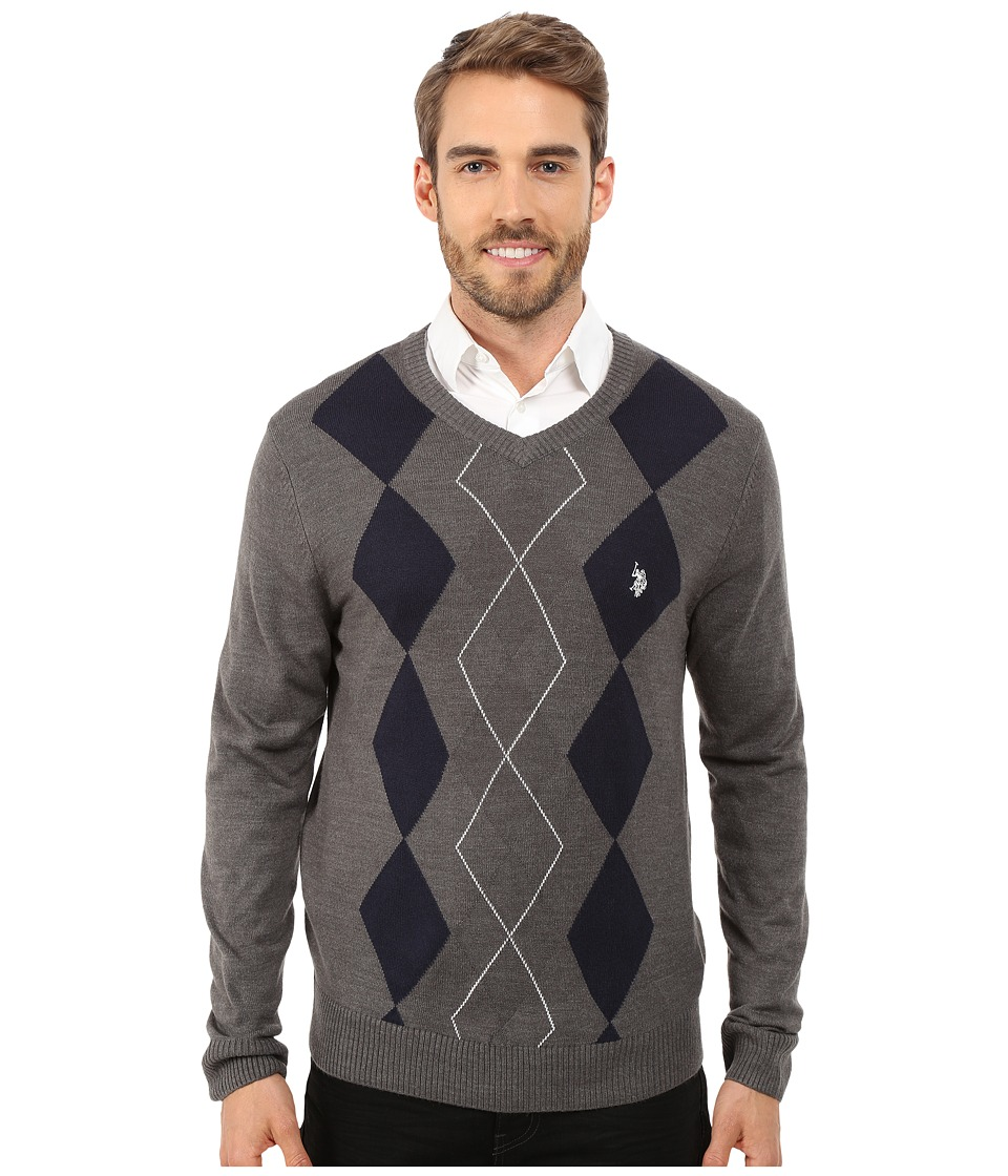 U.S. POLO ASSN. - Long Sleeve Argyle Sweater (White) Men's Sweater