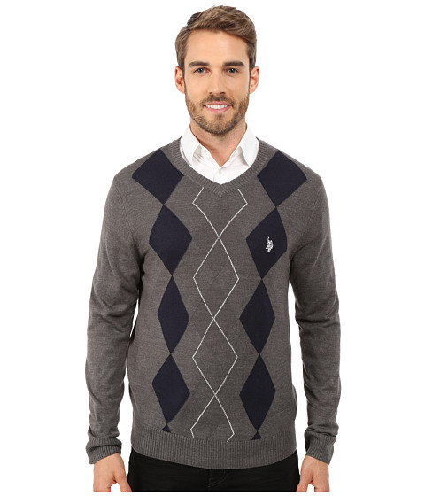 U.S. POLO ASSN. - Long Sleeve Argyle Sweater (White) Men