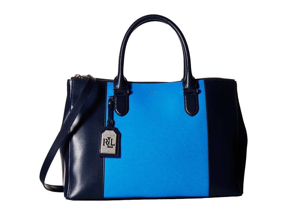 LAUREN Ralph Lauren - Newbury Spectator Double Zip Satchel (Navy/Cyan) Satchel Handbags