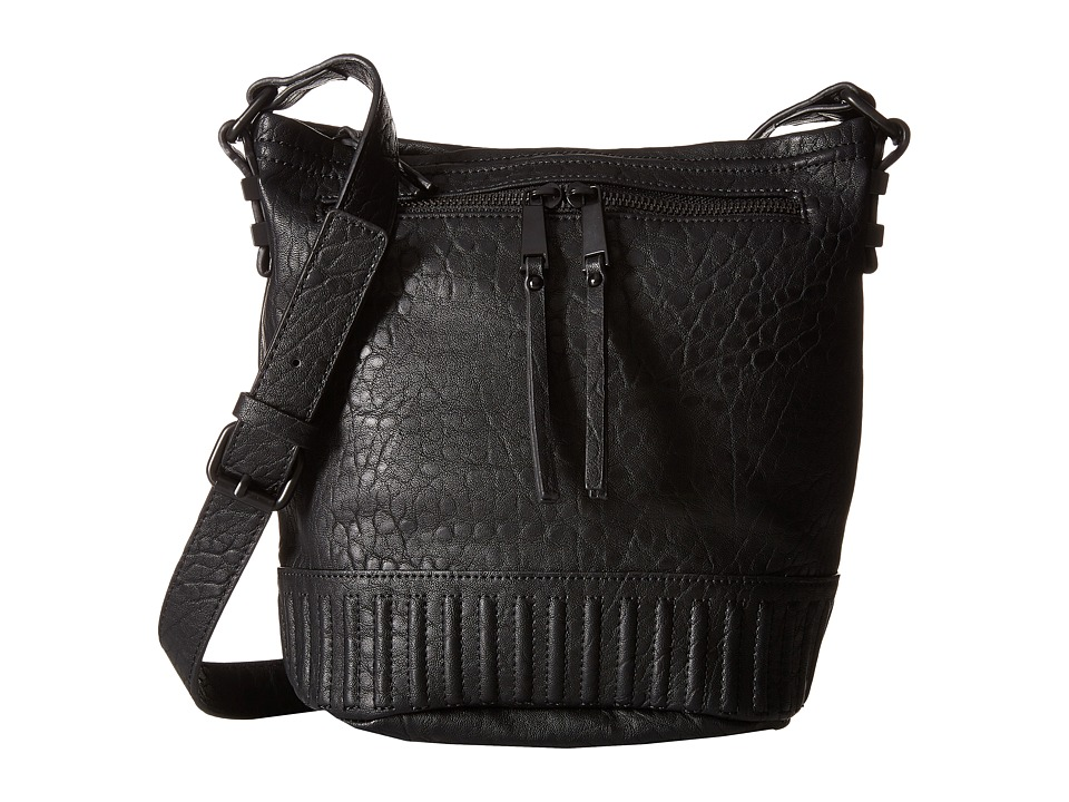 French Connection - Kim Bucket Hobo (Black Bubble PU) Cross Body Handbags