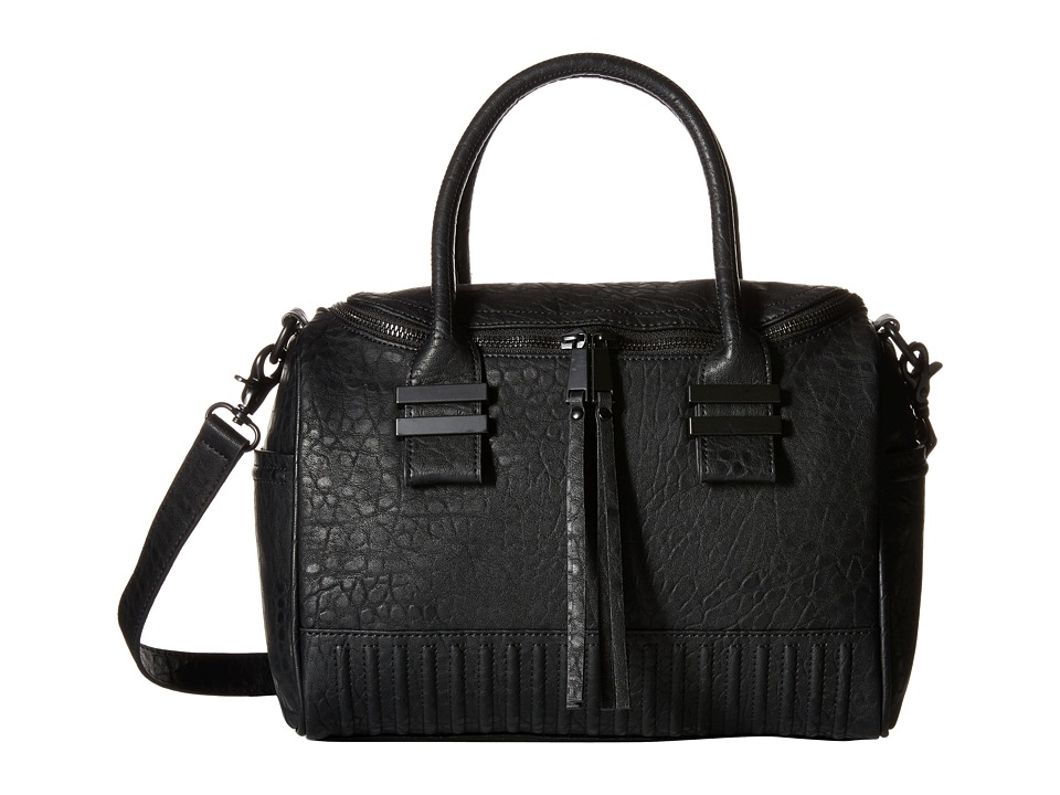 French Connection - Kim Large Satchel (Black Bubble PU) Satchel Handbags
