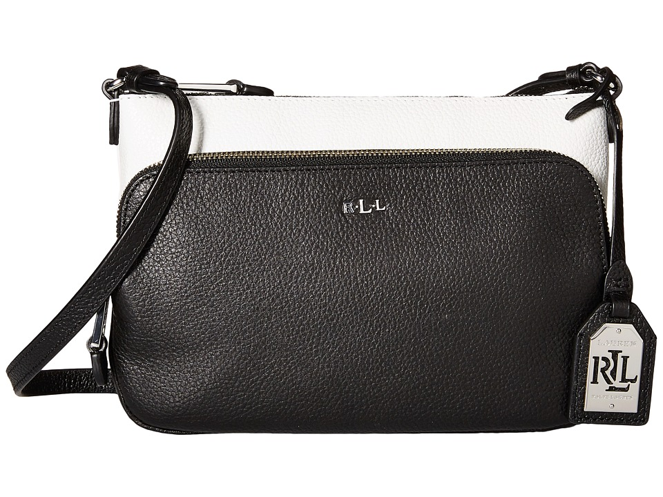 LAUREN Ralph Lauren - Harrington Color Block Crossbody (Bright White/Black) Cross Body Handbags