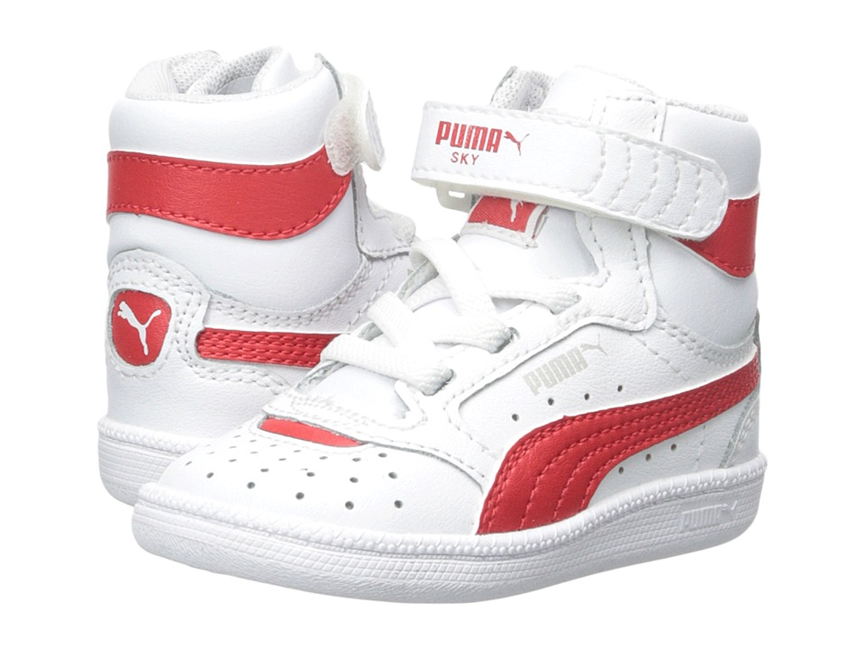 Puma Kids - Sky II Hi (Toddler/Little Kid/Big Kid) (White/High Risk Red/Gray Violet) Boys Shoes