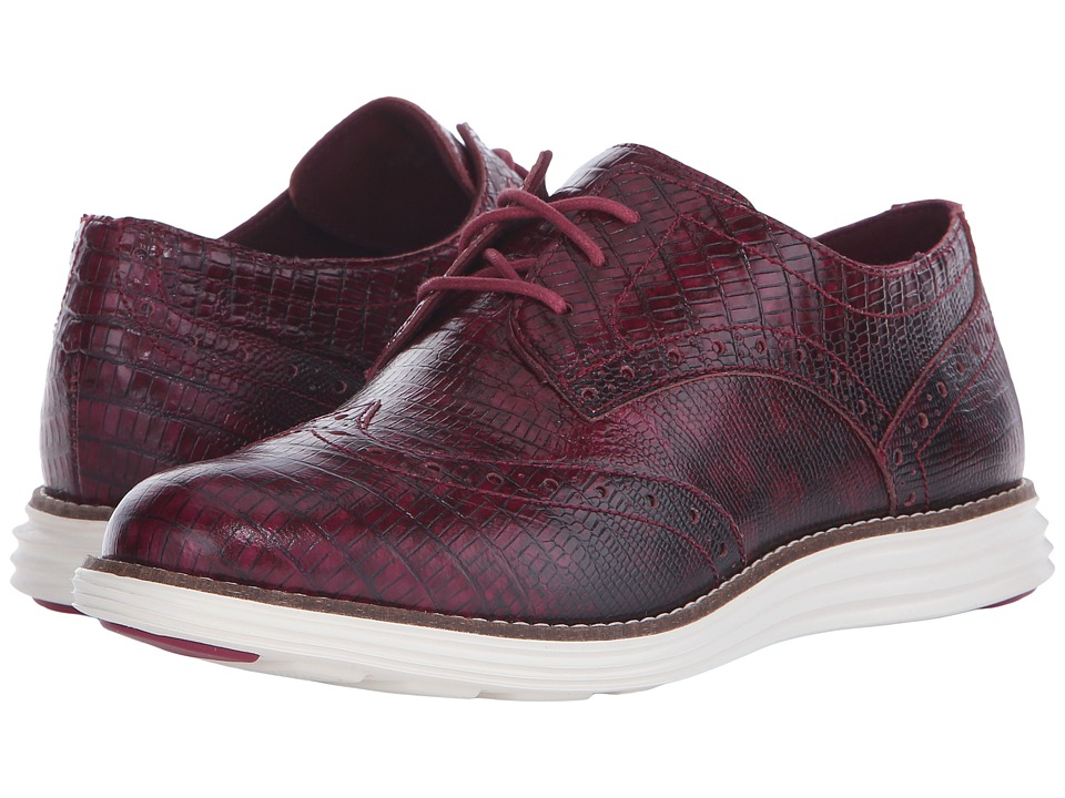Cole Haan - Original Grand Wingtip (Beet Red Snake Print/Optic White) Women's Lace Up Wing Tip Shoes