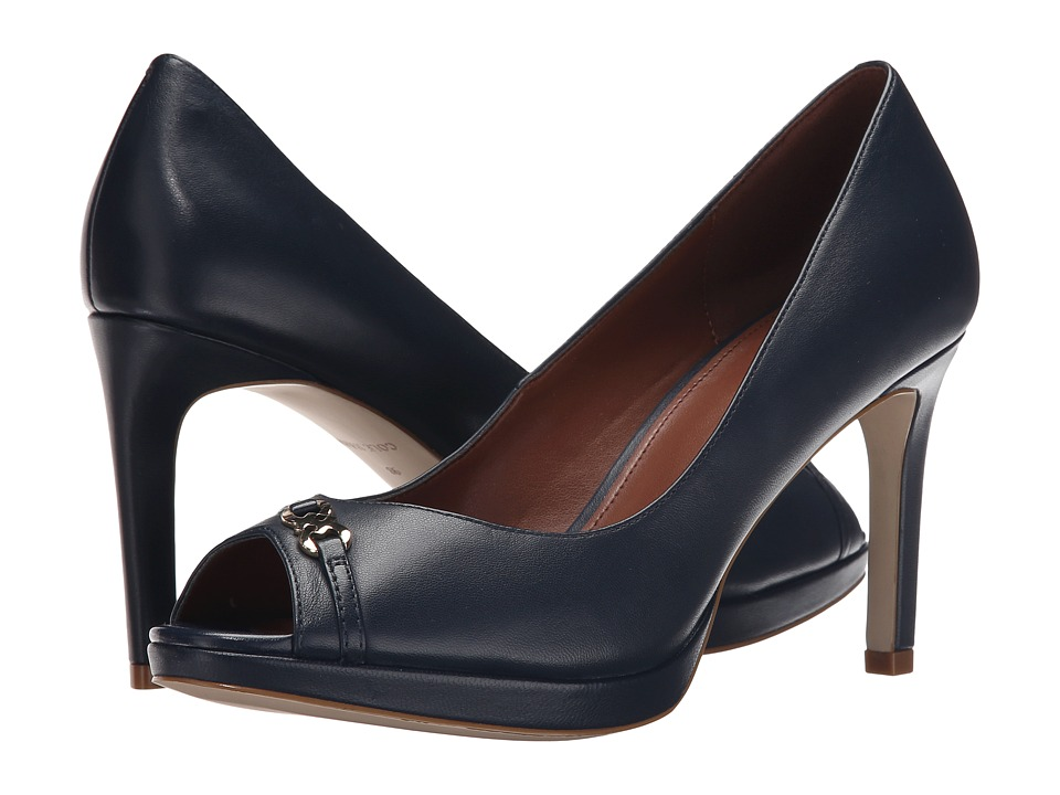 Cole Haan - Davis Open Toe Detail Pump (Blazer Blue Leather) Women