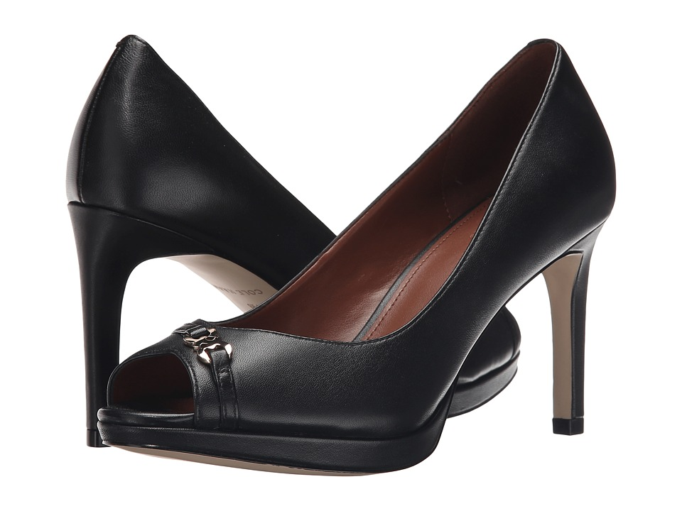 Cole Haan - Davis Open Toe Detail Pump (Black Leather) Women