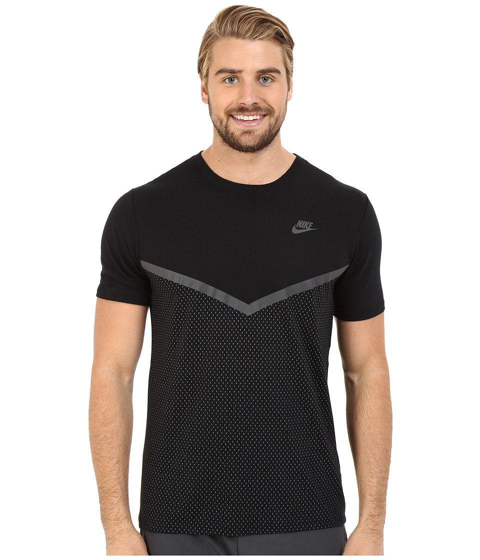 Nike - Futura Mesh Panel Print Tee (Black/Black/Anthracite) Men's T Shirt