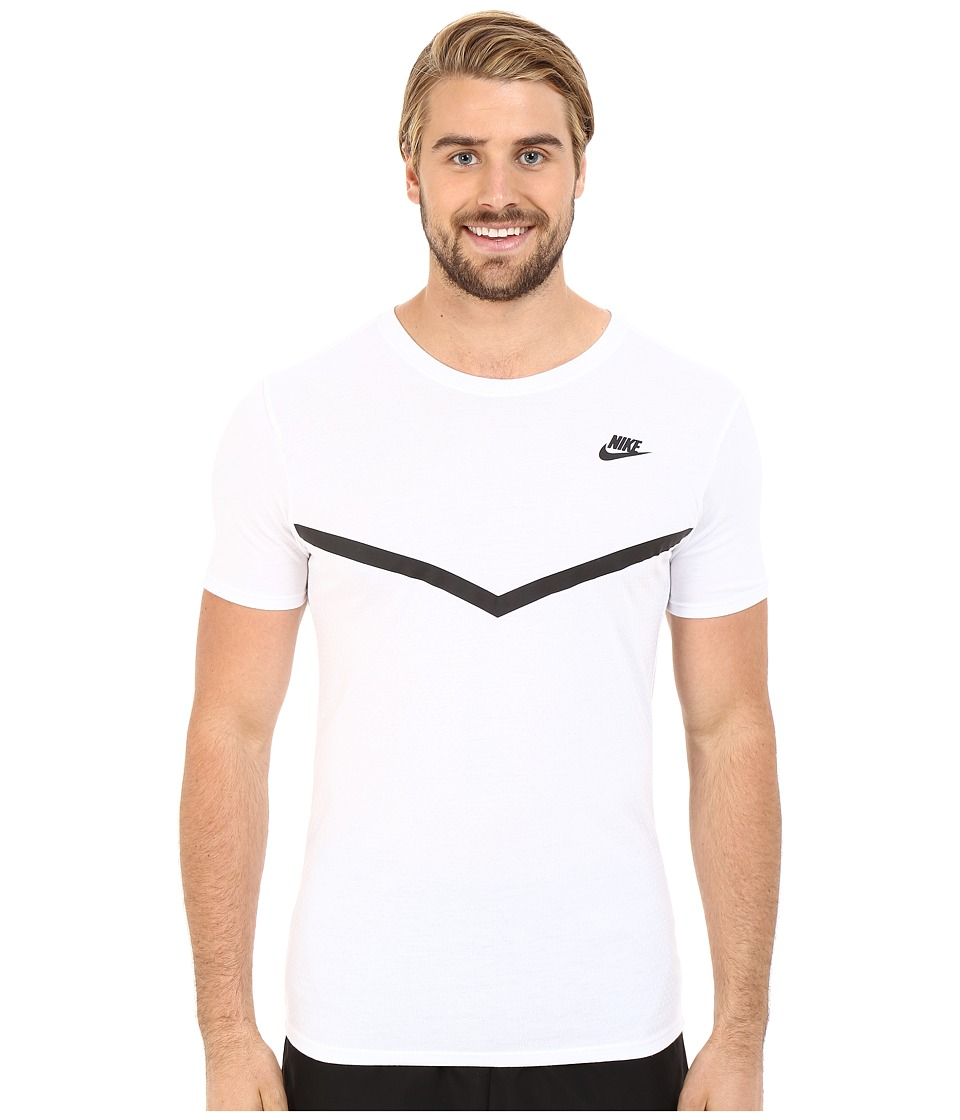 Nike - Futura Mesh Panel Print Tee (White/White/Black) Men