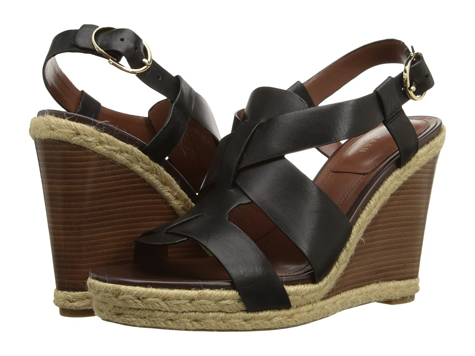 Cole Haan - Breecey Wedge (Black Leather/Dark/Natural Jute/Dark Brown Stacked) Women