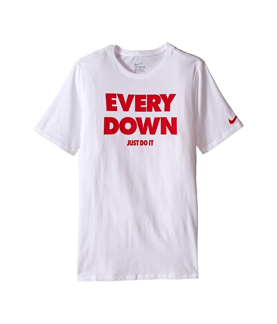 Nike Kids - Every Down Tee (Little Kids/Big Kids) (White/White) Boy's Clothing
