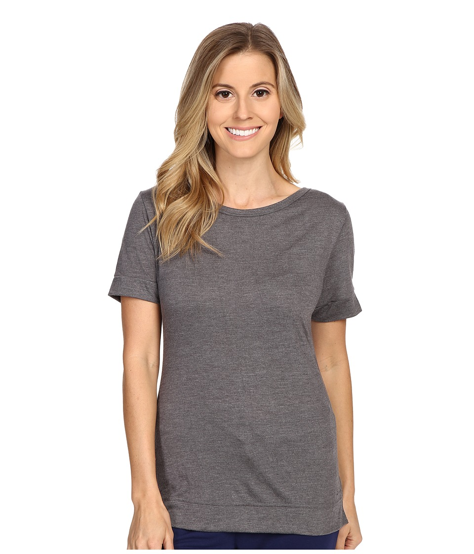 Calvin Klein Underwear - Liquid Lounge Short Sleeve Knit Top (Grey Heather) Women
