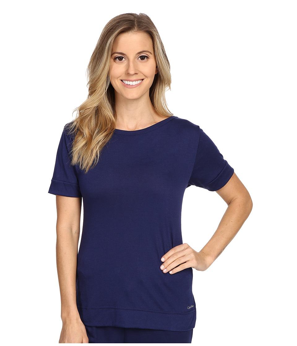 Calvin Klein Underwear - Liquid Lounge Short Sleeve Knit Top (Coastal) Women's Pajama