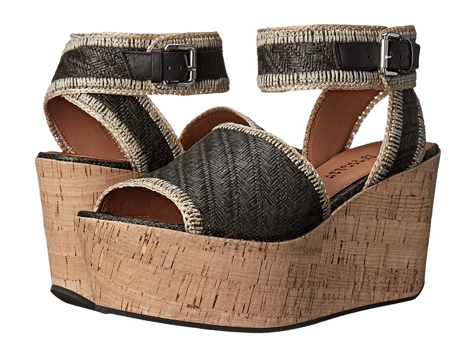 10 Crosby Derek Lam - Faye (Black Basket Weave Raffia) Women's Wedge Shoes