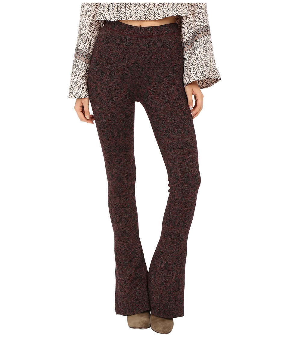 Free People Lurex Sweater Flare Pants (Wine/Black Combo) Women