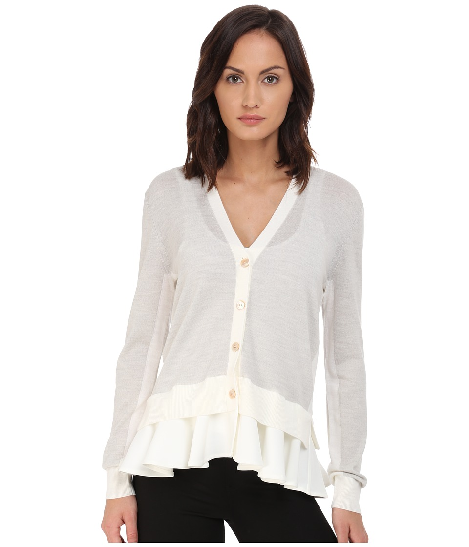 McQ - Fabric Mix Cardigan (Pale Grey Melange/Ivory) Women's Sweater