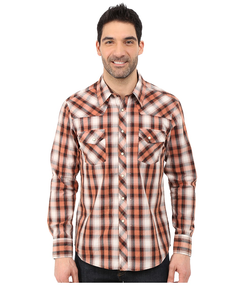 Rock and Roll Cowboy - Long Sleeve Snap B2S5433 (Brown) Men's Long Sleeve Button Up