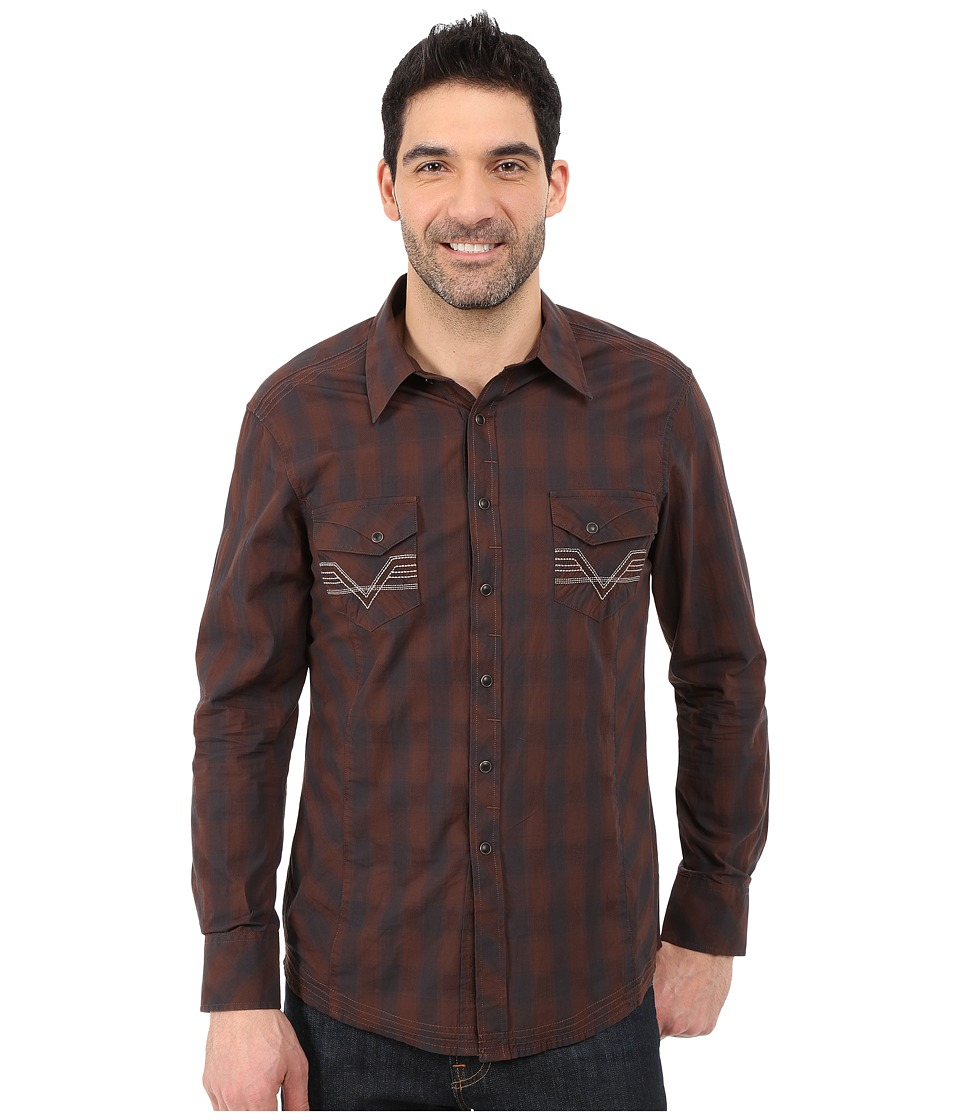 Rock and Roll Cowboy - Long Sleeve Snap B2S5434 (Brown) Men's Long Sleeve Button Up