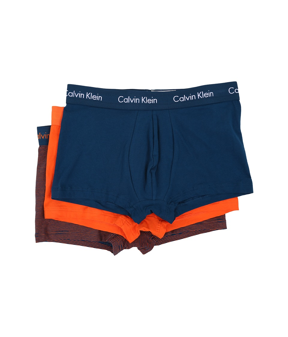 Calvin Klein Underwear - Cotton Stretch Low Rise Trunk 3-Pack NU2664 (Yale Blue/White Logo/Nara Orange Stripe) Men's Underwear